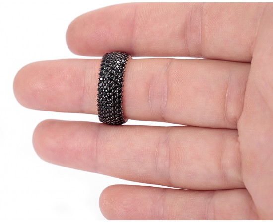 Wedding Band Ring with Black Cz Stones