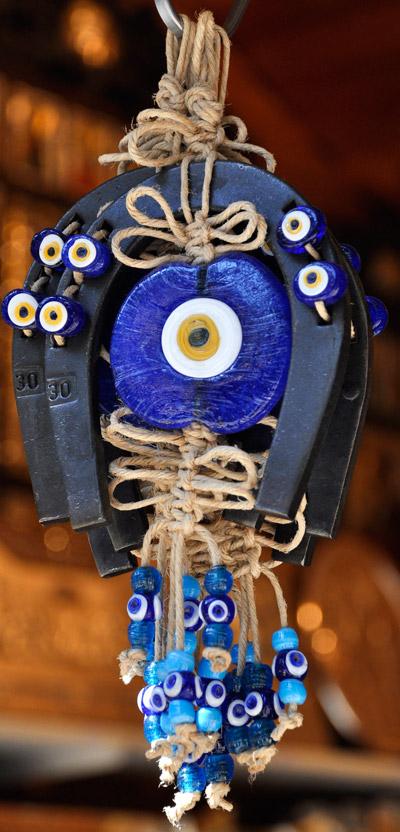 Evil Eye Bead Amulet with Horseshoe