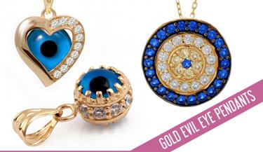 Evil eye pendant in gold