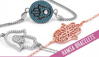 Hamsa bracelets in sterling silver