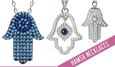 Hamsa necklaces in sterling silver