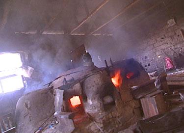 Traditional evil eye bead making furnace